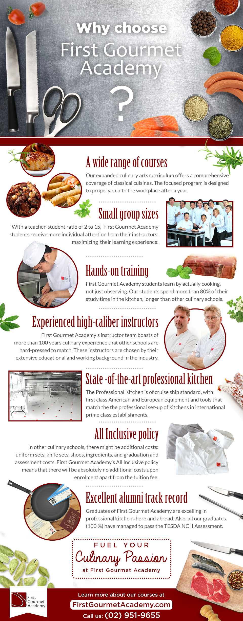 This is an infographic showing why you should choose First Gourmet Academy over other culinary schools in the Philippines.