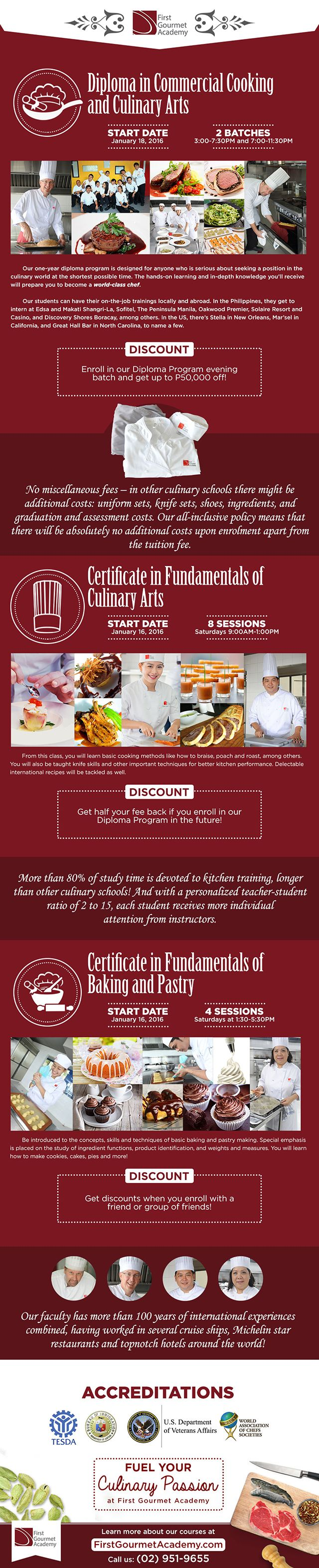 This is an infographic on First Gourmet Academy's Culinary Arts courses for January 2016